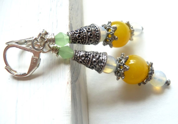 Yellow and Opal Colored Glass Leverback Earrings, Silver Plated