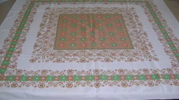 """Vintage hand print Cotton tablecloth   41x 46"""" sq  From Sweden"""