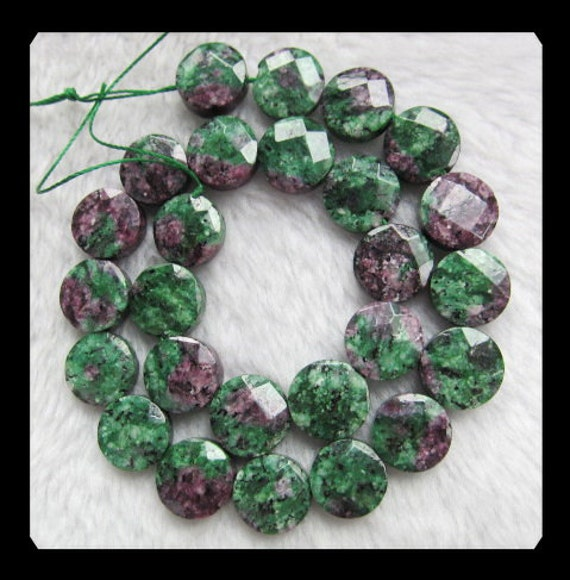 15x6mm,61.02g Ruby And Zoisite Faceted Loose bead,1 Stand,40cm In the Lenght