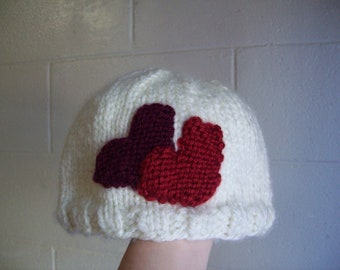Children's Hat - White with hearts