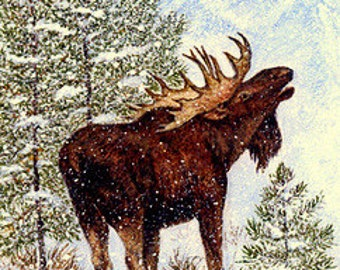 CHRISTMAS CARD, Moose, Snow, Trees, Merry Christmas Card, Bull Moose, Cabin Decor, Lodge Decor, moose decor