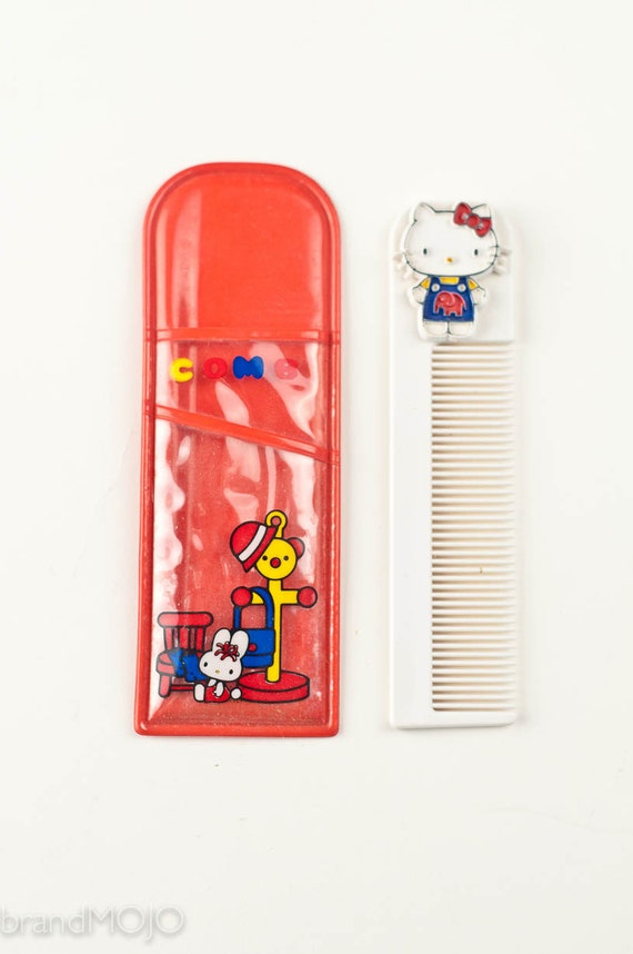 Vintage Hello Kitty Sanrio comb and case japan retro 1970s for her for kids beauty hair red blue cat Hallmark collectible