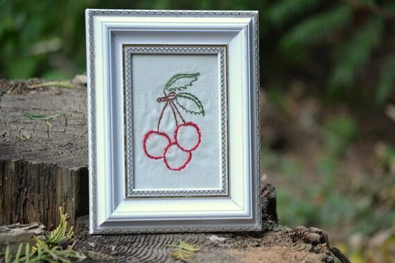 Reserved - Framed Hand Embroidery // Shabby Cherries // Farmhouse Decor