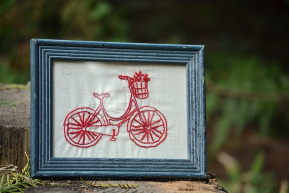 Reserved - Framed Hand Embroidery // Redwork Bicycle // Farmhouse Americana Decor