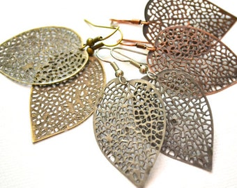 3 Pairs of Filigree Leaves . Antiqued Brass . Silver . Copper . Earrings . Akiko Collection Set