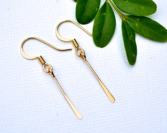 Gold Paddle Drops . Earrings
