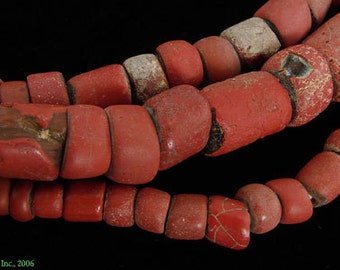 Red Greenheart Venetian Round Glass Trade Beads African 28492