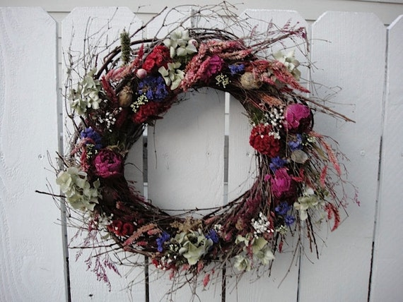 Dried Floral Twig Wreath  With All Natural Dried Flowers  Spring And Summer Wreath
