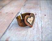 Rustic Textured HEARTS - Mixed Metal Combined RING