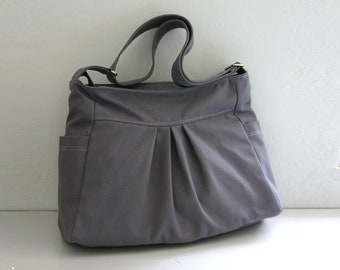 CHRISTMAS SALE - Gray Canvas Bag / Tote / Shoulder bag / Travel / Cross body / Zippered Closure Purse / Pleats / 2 Side Pockets