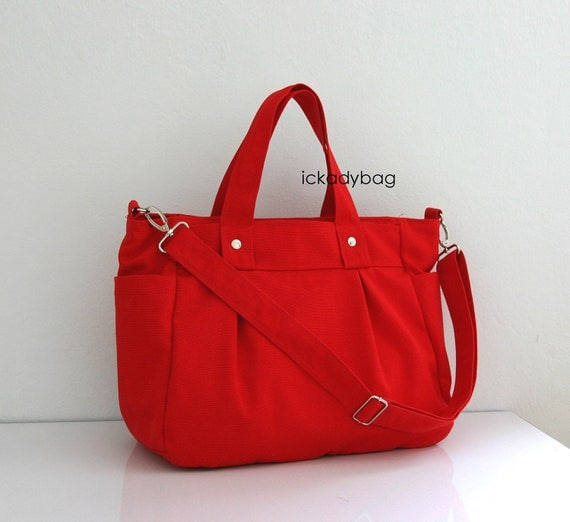Reserved for karenbarrow2 - Red Canvas Bag with 3 Compartments - 14oz - Back to School Sale 10% included