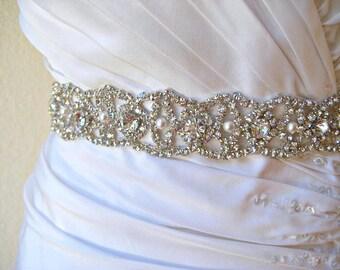 Bridal beaded swarovski pearl, crystal sash. Rhinestone embellished wedding belt. CRYSTAL PEARLA