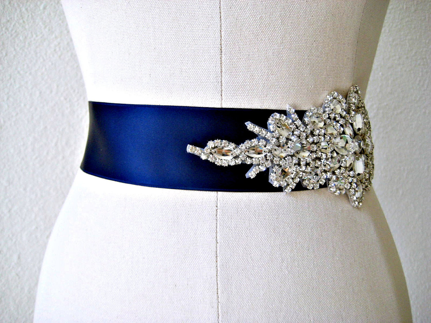 Bridal beaded glamorous crystal sash luxury by ingenueb for Blue sash for wedding dress