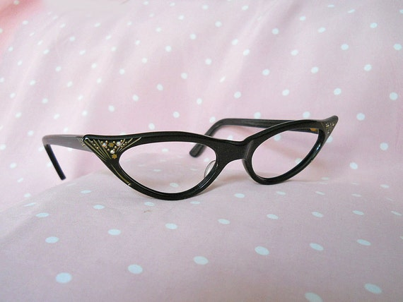 Cateye Glasses // 50s Rockabilly Eyeglasses // Rhinestones // French-Made // NO Shipping Charges