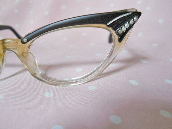 Cateye Glasses// Eyeglass frames // 50s Vintage // Rhinestones // Orig Pkg // No shipping Charges
