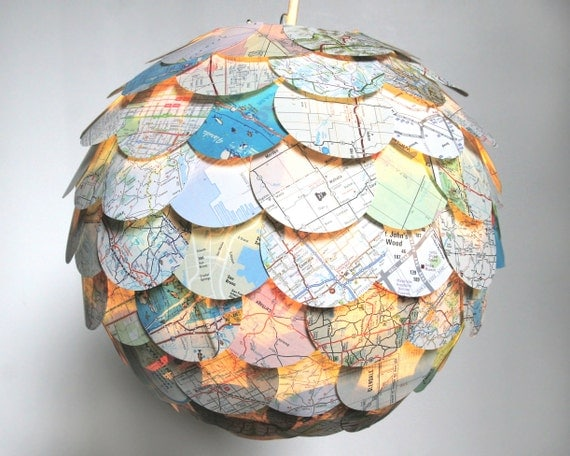 The Manhasset Road Map Pendant Light - Hanging Paper Artichoke Lantern - Shade Only