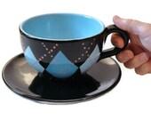 Ceramic Coffee Mug Turquoise and Black Argyle