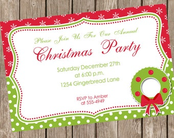 Christmas Invitation, Holiday invitation, holiday party, christmas party, gift exchange invite, printable, digital file
