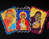 Catholic Icon Lacing Cards - Religious Quiet Toy for Church (Set 1) - Our Lady
