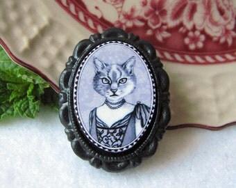 fancy lady cat brooch - victorian/edwardian style - feline black and white portrait - small size