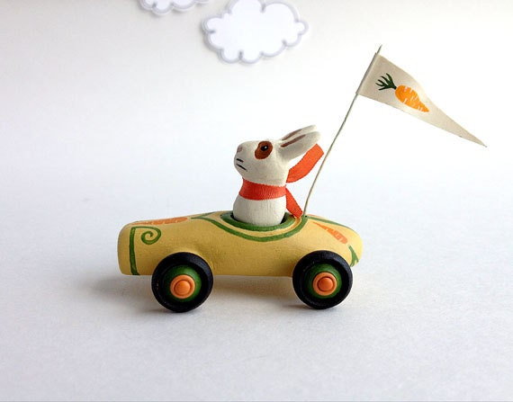 Mini Carrot Car with White Rabbit - Toy Car