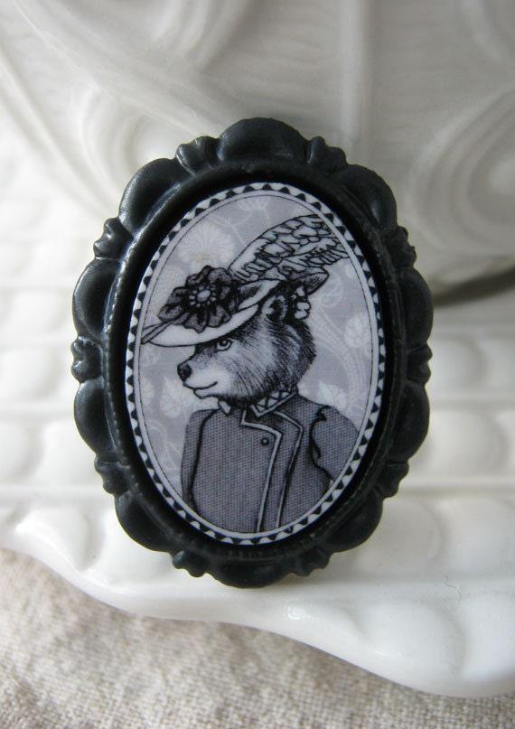 bear in a fancy hat  - victorian style brooch - animal portrait