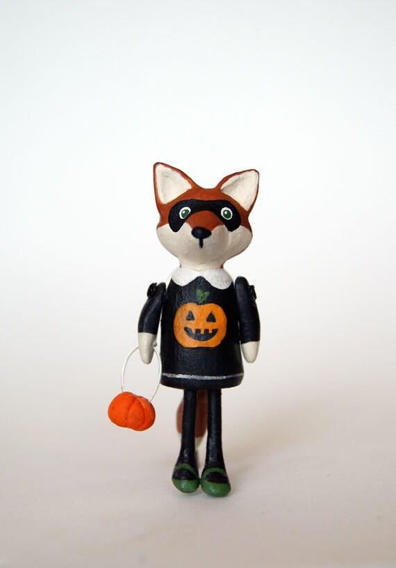 Halloween Fox Pin, Girl Fox in Mask with Pumpkin Bag, Holiday Jewelry, Seasonal Gift Idea, Halloween Accessory