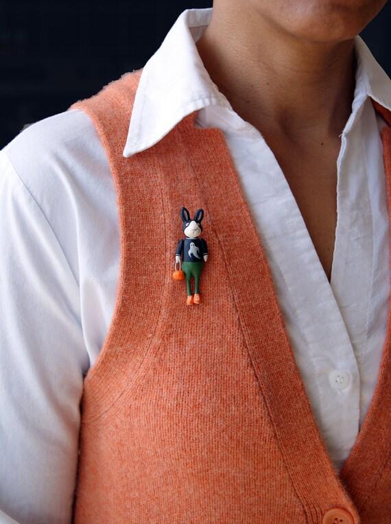 Halloween Rabbit Pin - Bunny Rabbit in Ghost Shirt with Pumpkin Bag