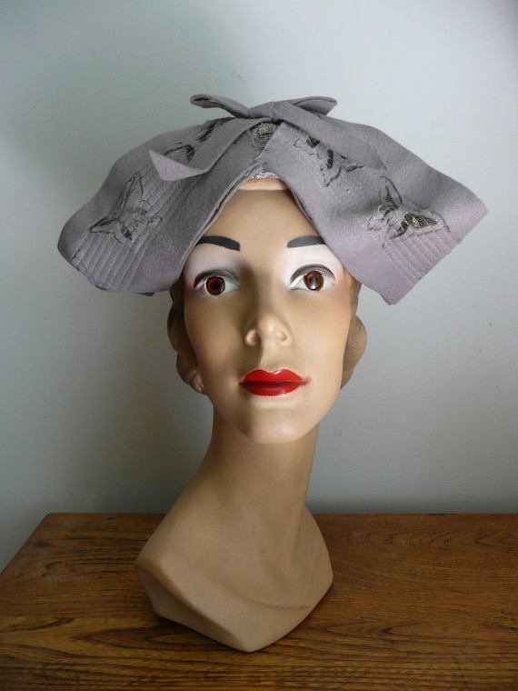 Vintage 1940s Hat Butterfly
