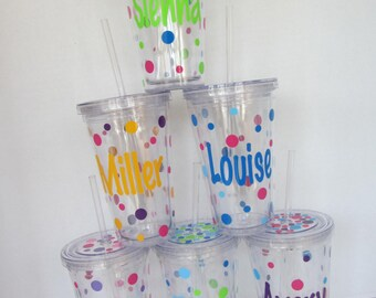Polka Dot Acrylic tumblers: 6 Personalized acrylic tumblers with lid.  Mix and match. Great gifts. Discount for buying more.