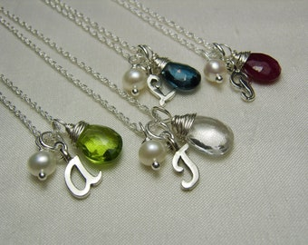 Monogram Necklace Set of 6 Bridesmaid Jewelry Birthstone Initial Necklace Personalized Bridesmaids Gifts Personalized Jewelry