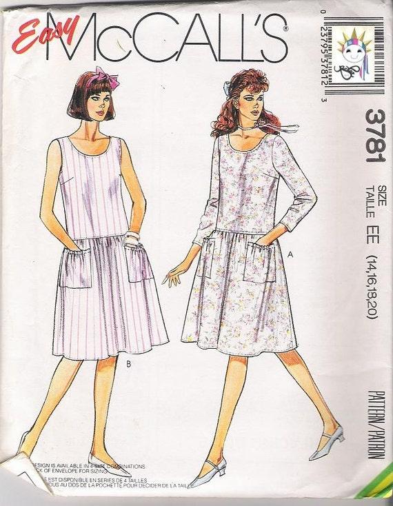 80s Dress Patterns Drop Waist Dress 1980s  McCalls 3781 Size 14 - 20 Uncut Patterns COMPLETE Sewing Patterns Vintage Supplies YacketUSA
