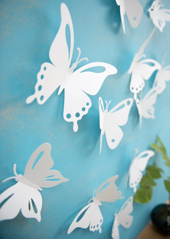 Custom Reserved listing for Meredith - Sample set of Popart White Butterfly Wall Art Set of 12