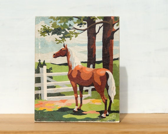 "Brown Horse Paint by Number Large Art Block -  8"" x 10"", vintage, trees, ranch, equine"