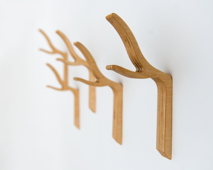 Branch wall hook twig coat hook wooden coat hook modern for Contemporary coat hooks
