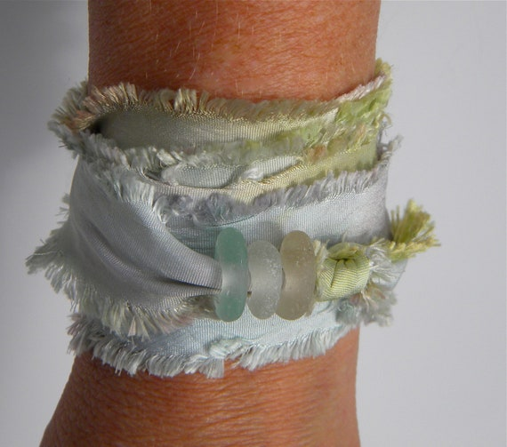Sea Glass Silk Wrap - Various Shades of Soft Pastels