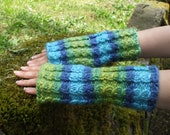 Knitted Fingerless Gloves Hand Warmers Arm Warmers - Under The Sea
