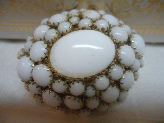 SALE Vintage Milk Glass Brooch Domed Jewelry