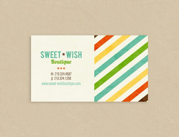 Printable Business Card Modern Diagonal Stripes - Distressed - Colorful