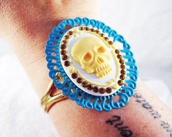 Swarovski Crystal Skull Cameo Cuff Bracelet