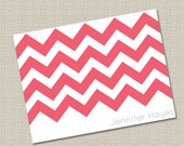 Hot Pink Chevron Notecard - Graphics Collection
