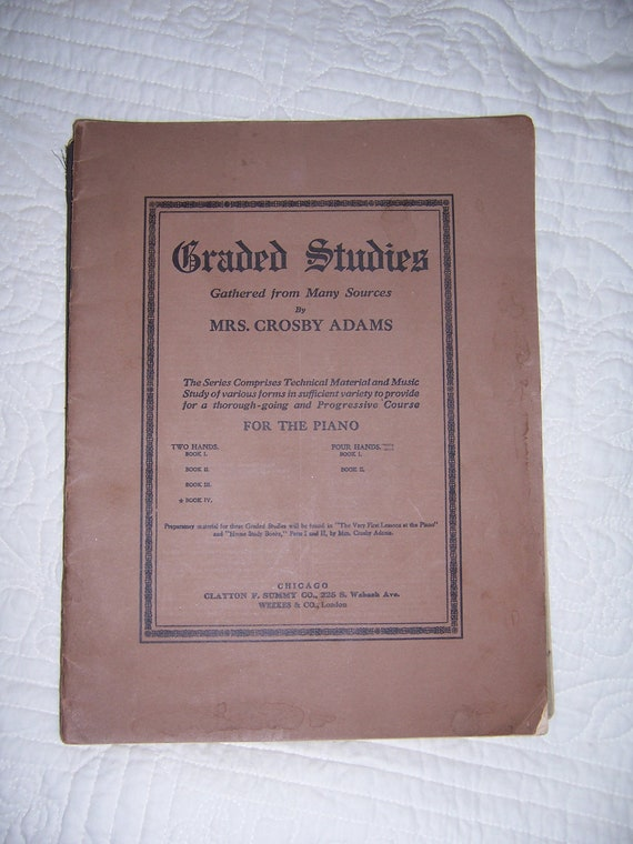 Early 1900's Piano Sheet Music book by Mrs. Crosby Adams