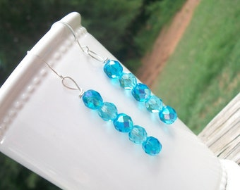 Shades of Turquoise Crystal Dangles, Turquoise Crystal Dangles