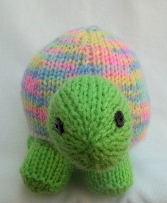 Lucy the Sherbet Shade Tortoise, Cute Hand Knitted Stuffed Toy/Pin Cushion