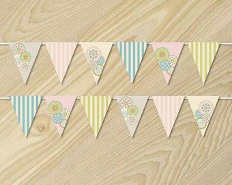 Flower Party - Flower Banner - Paper Bunting Flags