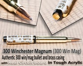 Handmade Bullet Pen - Real 300 Win-Mag writing instrument Circuit board great gift for a man