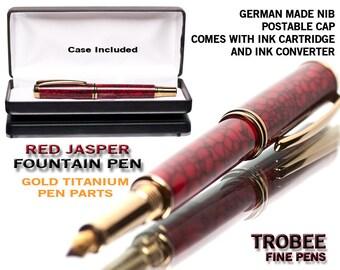 Nice Fountain Pen with Red Jasper Tru-Stone -  Gold Titanium professionally hand made fine writing instrument