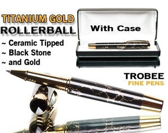 Black Pen with veins of gold, fine rollerball writing pens are what we specialize in, special gift ideas