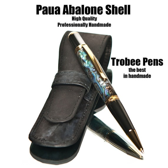 Abalone Ballpoint Pen  Titanium Gold and Black Titanium Handmade Paua shell stationery pens