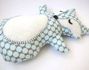 Fox Stuffed Animal - Sleepy Grey and Blue Fox Pillow